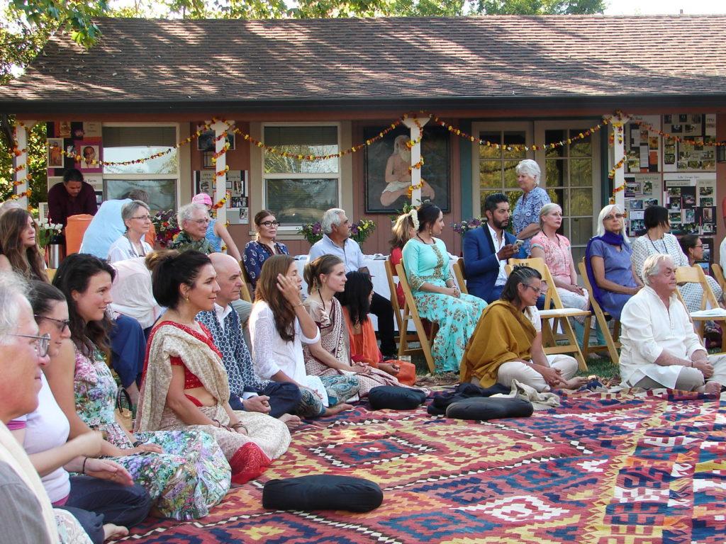 Satsang outside the ashram with Babaji