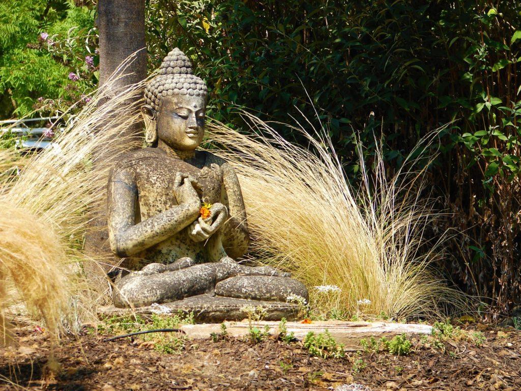 Buddha statue on ashram grounds in Sonoma, California
